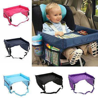 Waterproof Kids Baby Car Safety Seat Snack Play Travel Tray Drawing Board Table