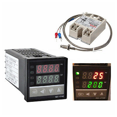 Digital 220V PID REX-C100 Temperature Controller + 40A SSR + K Thermocouple HKDT