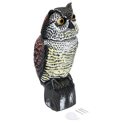 Large Realistic Owl Decoy Rotating Head Weed Pest Control Crow Scarecrow SZHKUS