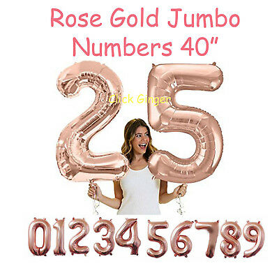 "Rose Gold Jumbo Numbers 100cm 40"" Helium Quality Foil Balloons Number Giant"