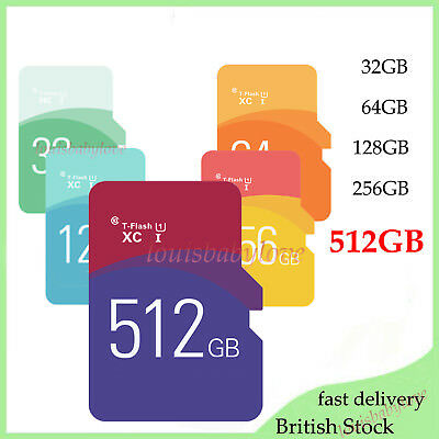 Flash Memory Storage Card 512GB TF Ultra SD SDHC SDXC & Free Adapter For Mobiles