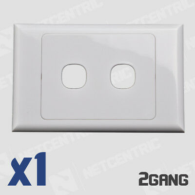 2 Gang Face Plate Wall Cover Grid Light Port Jack RJ45 Ethernet LAN Clipsal