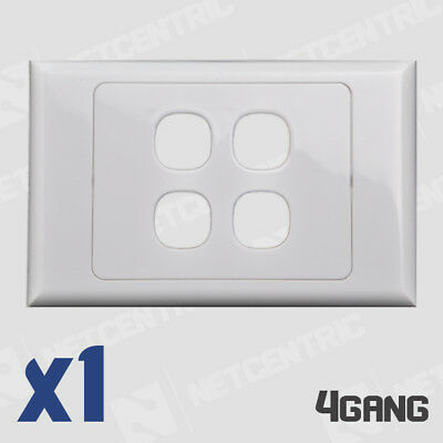 4 Gang Face Plate Wall Cover Grid Light Port Jack RJ45 Ethernet LAN Clipsal