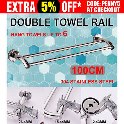 Bathroom Double Towel Rail Rack 2 Bar 100cm Stainless Steel Hanger Wall Mount AU