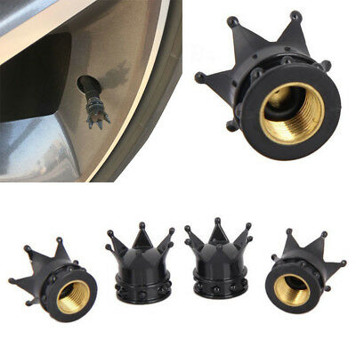 4pcs Black Crown Aluminum Car Wheel Tyre Tire Air Valve Stem Cap Dust Cover New