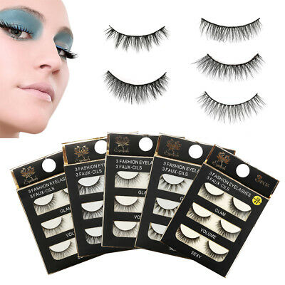 3 Pairs False Eyelashes Long Thick Natural Fake Eye Lashes Set Mink Makeup