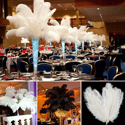 1-100X Ostrich Feathers DIY Crafts Wedding Party Decorations White Rose Black AU