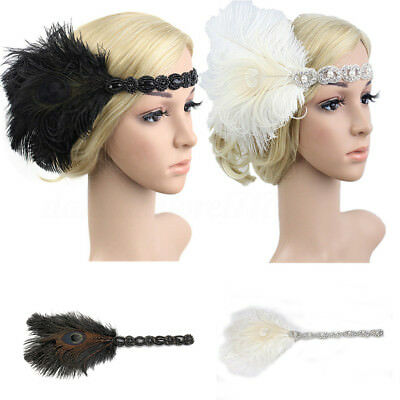 New 1920s Headband Vintage Bridal Gatsby 20s Flapper Feather Gangster Headpiece