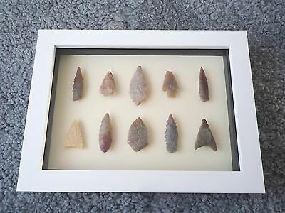 Neolithic Arrowheads in 3D Picture Frame, Authentic Artifacts 4000BC (0169)