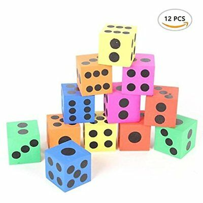 Role Playing Dice BinaryABC Mixed Color Foam Dice,Building Block Toy,Safe 12pcs