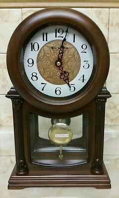 Wm. Widdop Wooden Quartz Mantel Clock with Pendulum Arabic Dial, Dark Wood Case