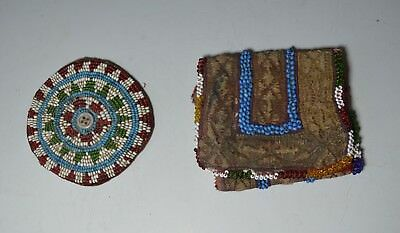Nice OLD American Indian  beaded  roundels and Central Asian beaded bag 3 pcs
