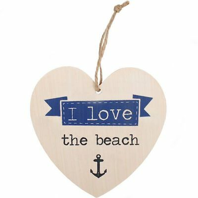 I Love The Beach - Sentimental Wooden Hanging Heart Plaque Sign