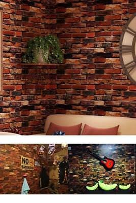 3D Wallpaper Red Brick Roll Retro Stone Brick Wall Background Textured Art Home
