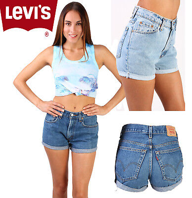 21fc5d2e688c Vintage Levis High Waisted cut Off Turned Up Women Shorts Size 6 8 10 12