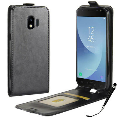 Black Leather Flip Wallet Case Cover for Samsung Galaxy J2 Pro 2018 + Stylus