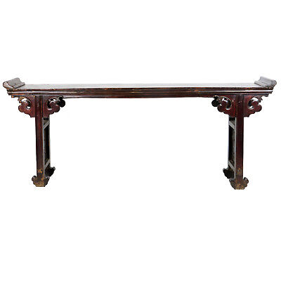 "Antique Chinese Altar Table 98"" Long Brown lacquer with unusual carved feet"
