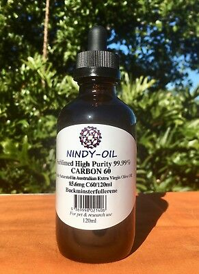 C60-99.99%pure - fully saturated in Australian Organic Virgin Olive Oil - 120ml