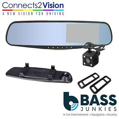 "3 in 1 4.3"" Rear View Clip On Mirror with Front & Rear Color Camera Kit CAM-KIT7"