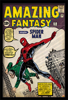 SPIDERMAN AMAZING FANTASY #15 13x19 FRAMED GELCOAT POSTER MARVEL COMICS VINTAGE!