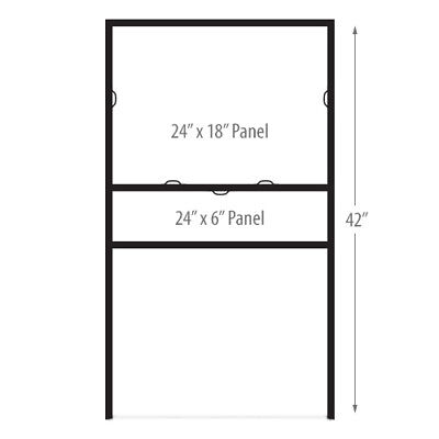 """24""""W x 18""""H Insert Metal H-Frame Real Estate Yard Sign with Bottom Rider"""