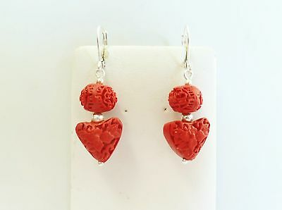 Hand Carved Little Red Resin Cinnabar Hearts Earrings in Sterling