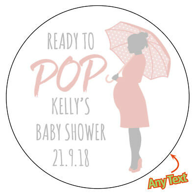 48 x ready to pop baby shower personalised stickers pregnant mom party bag 658