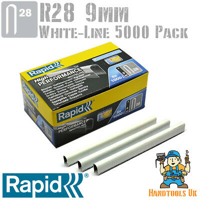 Rapid R28 9mm White Cable Staples 5000 Box - For R28, Arrow T18, Rapesco CT45