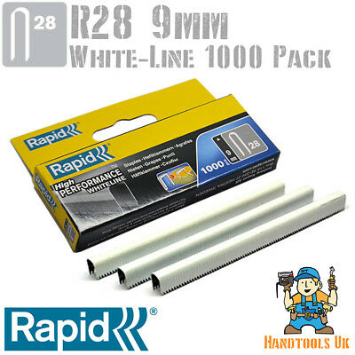 Rapid R28 9mm White Cable Staples 1000 Box - For R28, Arrow T18, Rapesco CT45