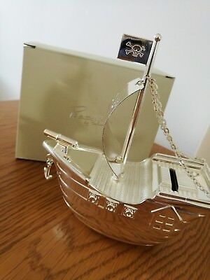 'Bambino' Silver-Plated Pirate Ship Money Box (New Baby/Christening Gift)