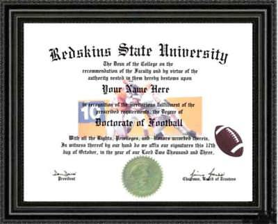 Washington Redskins Football Fan Doctorate Diploma / Degree Custom made for You