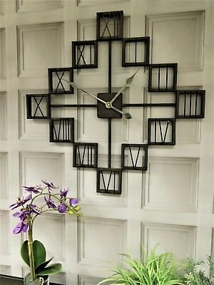 Industrial urban style metal wall clock diamond shape 70cm square