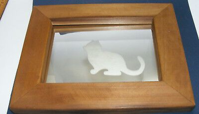 Wood FRAMED Frosted CAT ON MIRROR kitty kitty IMAGES