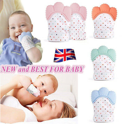 Baby Silicone Mitts Teething Mitten Glove Candy Wrapper Sound Teether Toy UK