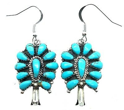 5faf902d2 Navajo Handmade Sterling Silver Turquoise Cluster Earrings - Anthony  Williams