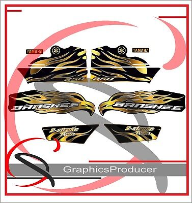 Yamaha Banshee Decals 2007 Red 350 Model Full Set Graphics For OEM Fender Gold