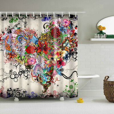 Fabric Shower Curtain Extra Wide Long Standard With Hooks Ring Heart