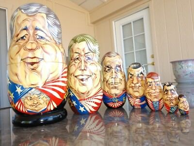 Matryoshka Dolls U.S. Presidents 1995 Moscow Russia 7 Nesting Wood Artist Signed