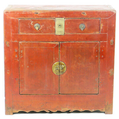 "Antique Chinese 38"" Wide 37"" 2 Door Rustic Red Lacquer Cabinet, only 16"" deep"