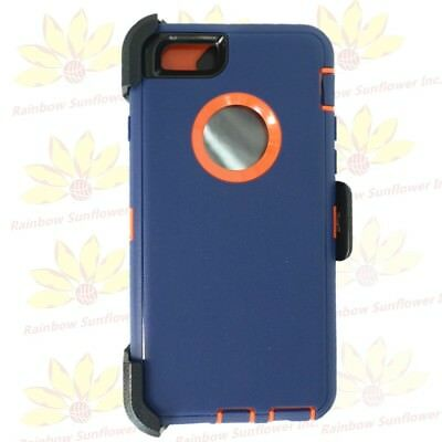 "Navy Orange For Apple iPhone 6S Plus (5.5"") Case w/ Clip fits Otterbox Defender"
