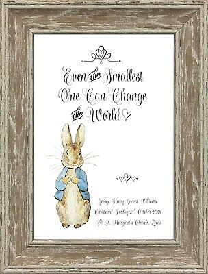 Peter Rabbit Christening Baptism Newborn Gifts Nursery Personalised Art Picture