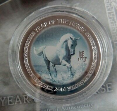 Tuvalu 1 dollar  2014 Lunar Year of the Horse Wealth  Silver 1 oz Blister