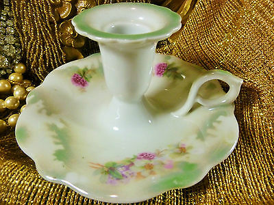 German Late Victorian Era Chamber Candle Holder Hp Floral Greencolor Splash