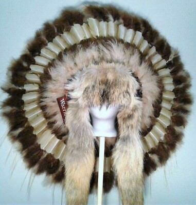 Native American ALL NATIONS TRADITIONAL COYOTE  War Bonnet Feather Headdress