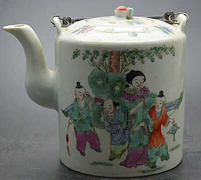 JR Stunning porcelain flagon wine pot teapot painted ancient Chinese folk custom