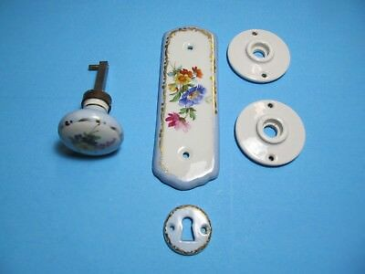 Vintage Ceramic Door Knob/back Plate And Push Plate