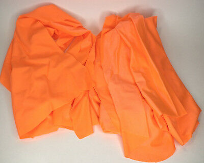 Vintage 80's Hot Orange Stretch Fabric Craft Costume Halloween Bright Color