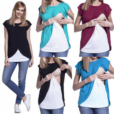 Women Breast Feeding Nursing Tops Blouse Pregnant Maternity Short Sleeve Top