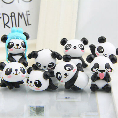 Panda Cute Animal Set Of 8 PVC Figure Mini Doll Cake Topper Kids Doll Gift Toys