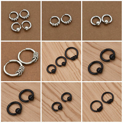 1Pair Punk Stainless Steel Men Earrings Cuff Clips Silver Hoop Stud Gothic Gift